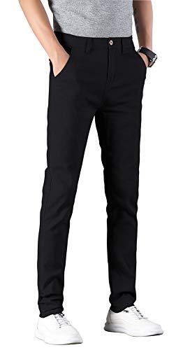 Plaid&Plain Men's Skinny Stretchy Khaki Pants Colored Pants Slim Fit Slacks Tapered Trousers 819 Black 36X30