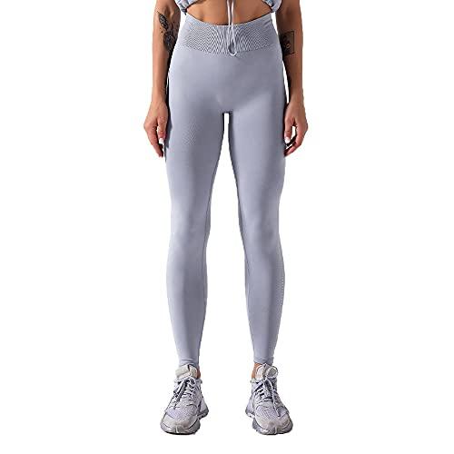 Yumanluo Mallas de Deporte Combinadas Mujer,Gym Seamless Leggings Mujer Shark-Gray_M,Pantalones Deportivos Leggins con para Yoga Running Fitness