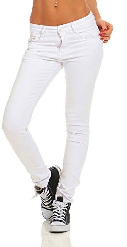 4345 Fashion4Young Damen Hose Röhre Skinny Treggings Slim Fit Jeans Stretch Denim Übergrößen Slimline (weiß, L-40)