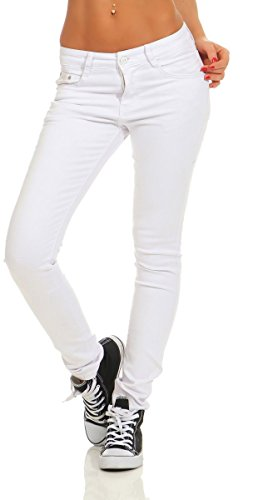 Fashion4Young 4345 Damen Hose Röhre Skinny Treggings Slim Fit Jeans Stretch Denim Übergrößen Slimline (weiß, S-36)