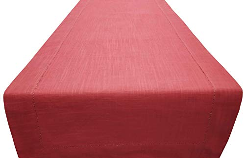 Linen Clubs Slub Cotton Table Runner in Coral Color with Hemstitched Detailing and Mitered Corner Finish on edges-100% Cotton Size 16x72Inch