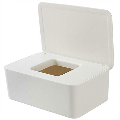 Avalita Caja dispensadora de toallitas húmedas, dispensador de toallitas húmedas, caja de almacenamiento de pañuelos con tapa, a prueba de polvo para oficina en casa