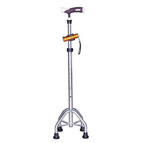 Aluminiumlegering verlichte vierpotige wandelstok, oude man telescopische wandelstok wandelstok loophulpmiddel klimmen krukken twee kleuren optionele,Silver