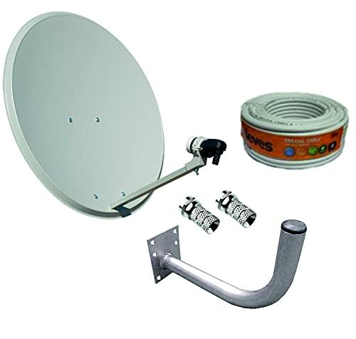 Kit Antena parabolica Tecnovoz 80cm + LNB Universal + Soporte + Rollo 20m TELEVES