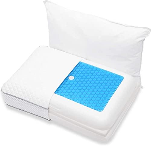 Winthome Oreiller en mousse à mémoire de forme pour les douleurs au cou, au dos, aux épaules, coussin en gel rafraîchissant pour dormir, dormir sur le côté, dormir sur le ventre
