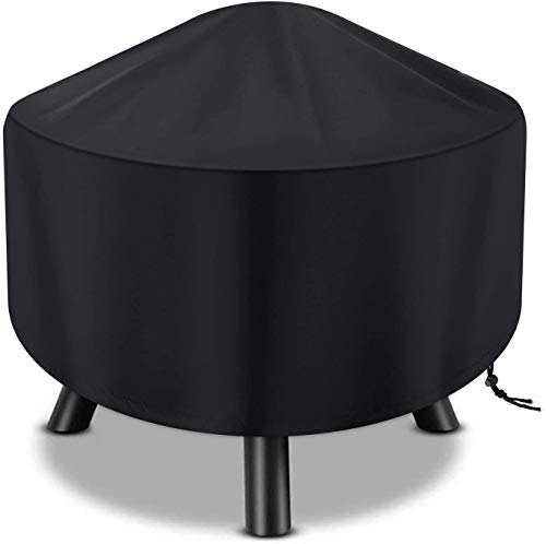 WSSCKT Fire Pit Cover Round, Waterproof 420D Oxford Cloth Patio Fire Bowl Cover All-Season Protection - Black (Size : 48' Dia x 18' H)