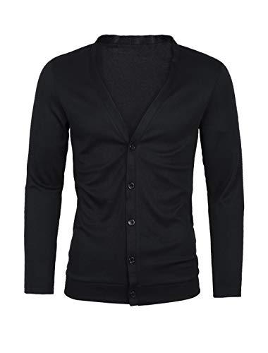 Sourcingmap Homme Encolure en V Profond Manches Longues Bouton Bas Slim Fit Cardigan Noir 46