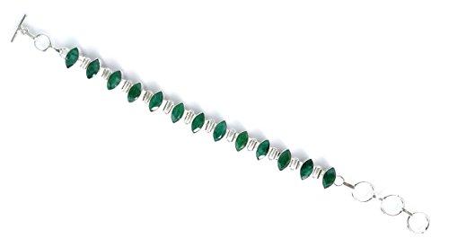 TIBETAN SILVER Pulsera chapada en Plata de Ley 925 para Mujer y Hombre. Pulsera de Piedras Preciosas de Amatista Verde Hecha a Mano Artesanos