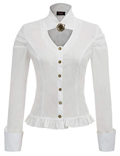 Women's Steampunk Blouse Medieval Victorian Costume Tops High Neck White XL