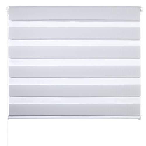 Laneetal Estores Enrollable Noche y Día Persiana Interior Doble Semi-Sombreado Bloquear los Rayos UV Proteger la Privacidad 100% Poliéster 65 x 150 cm Color Gris
