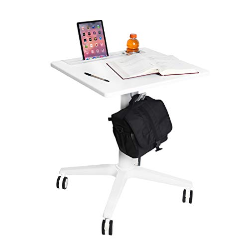 """Seville Classics Airlift 25.6"""" XL Sit-Stand Adjustable Student Classroom Cup Holder Mobile Desk, White"""