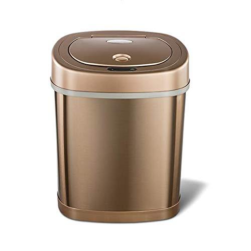Poubelles, Smart carré en Acier Inoxydable à Induction Automatique Peut Salon Chambre à Coucher Peut Couverte (Color : Gold, Size : 21.3 * 30.7 * 38.5cm)