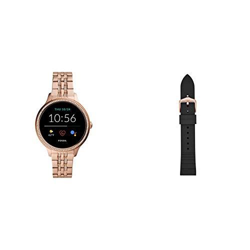 Fossil Connected Smartwatch Gen 5E para Mujer con tecnología Wear OS de Google, frecuencia cardíaca, GPS, NFC y notificaciones smartwatch, Acero Inoxidable De Oro Rosa + Correa de Reloj S181369