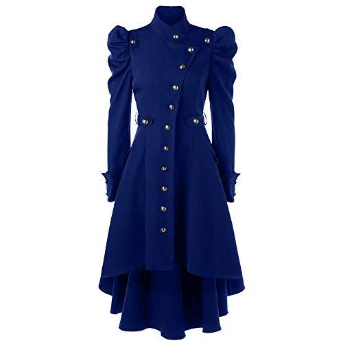 OverDose Damen Lange Jacke Anzugjacke Wintermantel Damen Vintage Steampunk Langer Mantel Gothic Mantel Damen Retro Jacke Party Jäten Elegant Cool Outwear(Blau,40 DE / 3XL CN )