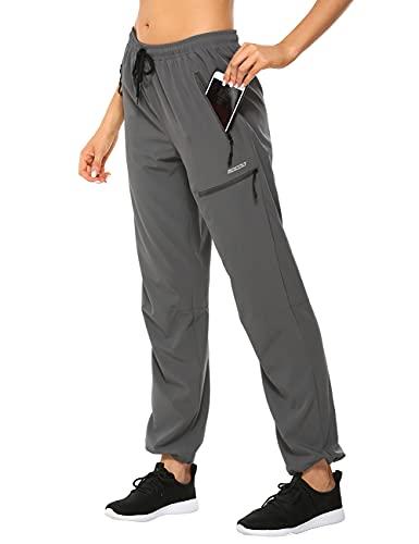 MOCOLY Women's Cargo Hiking Pants Elastic Waist Quick Dry Lightweight Water Resistant Active Long Pants UPF 50+ Grey M