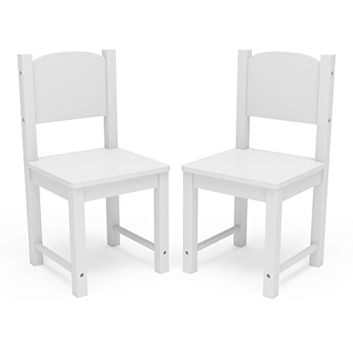 Timy Toddler Wooden Chair Pair, Kids Furniture for Eating, Reading, Playing 2 Pack (White)