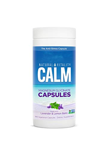 Natural Vitality Calm Magnesium Glycinate Supplement, Stress Relief Magnesium Capsules with Lavender & Lemon Balm, Vegan, Gluten Free, Non-GMO, 180 Capsules
