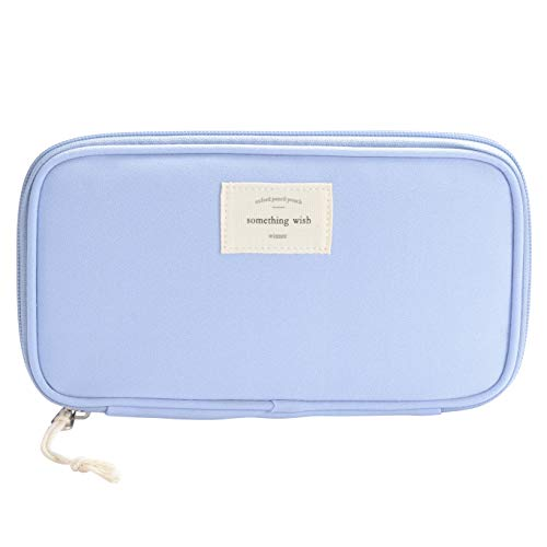 Pencil Case, Large Capacity Waterproof Oxford Pencil Case Stationery Pencil Pouch Bag Case Cosmetic Makeup Bag Passport Organizer Bag, 8.5 x 4.5 inch(Blue)