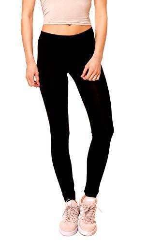 Easy Young Fashion Damen Basic Viscose Jersey Leggings Leggins Lang Uni Einfarbig One Size Schwarz