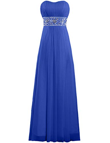 ANTS Women's Strapless Chiffon Evening Gown Long Prom Dresses Size 4 US Royal Blue