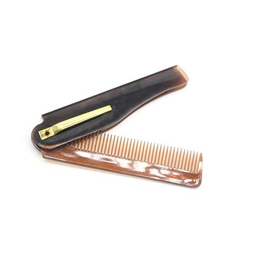 1pc Brown Peigne Voyage Portable pliant en plastique Peigne de poche compact Peigne peigne fin Dents Mans Styling Kit Toilettage cheveux