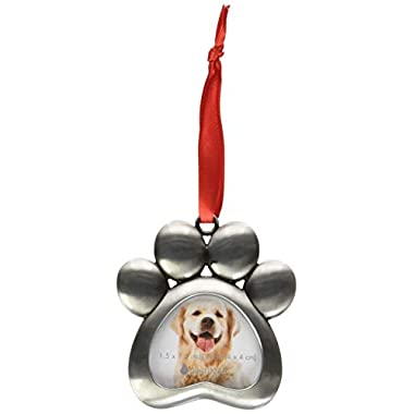 Pearhead Pawprint Metal Holiday Photo Frame Ornament