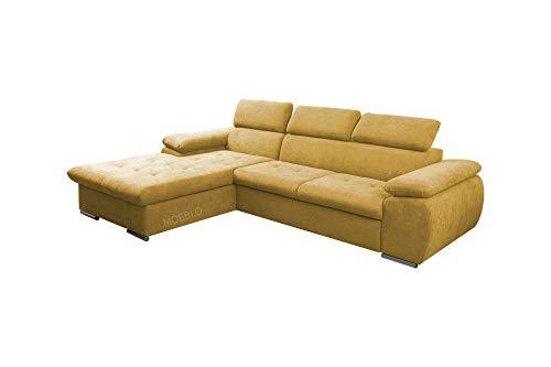 mb-moebel Ecksofa mit Schlaffunktion Eckcouch mit Bettkasten Sofa Couch L-Form Polsterecke NILUX (Gelb, Ecksofa Links)