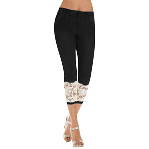JOFOW Pencil Pants Womens Denim Patchwork Lace Jeans Capri Leggings Distressed Skinny Stretch Casual High Waist Crop Trousers