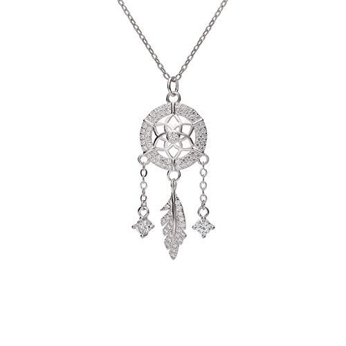 Collares de Mujer de Moda Plata de la Borla Collar del colector del sueño Pluma Mujer de Ley clavícula Cadena Pendiente de Plata del Oro de Rose Collar Dia De La Madre Regalos (Color : Silver)