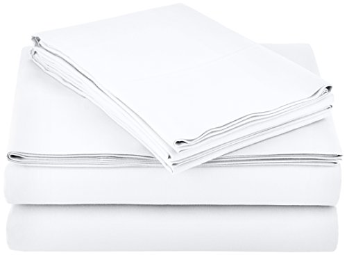"""AmazonBasics Lightweight Super Soft Easy Care Microfiber Sheet Set with 16"""" Deep Pockets - Queen, Bright White, 4-Pack"""