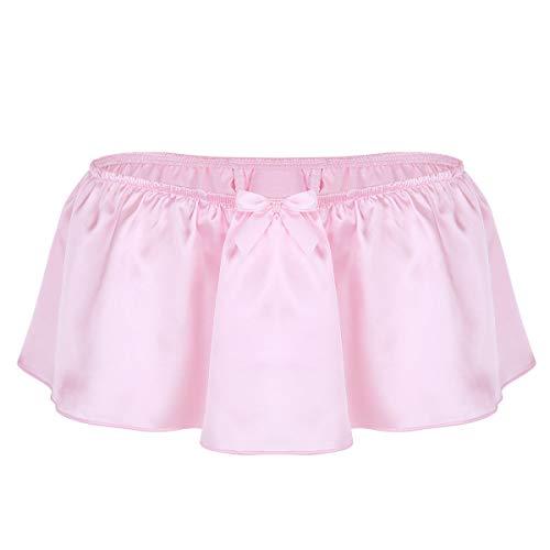 inlzdz Men's Frilly Satin Skirted G-String Thong Sissy Panties Crossdress Lingerie Underwear Pink Large(Waist 31.5-55.0'/80-140cm)