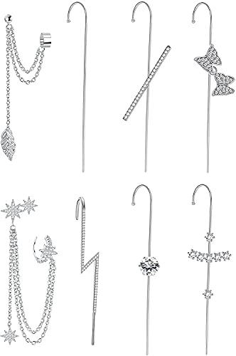 Milacolato Ear Wrap Crawler Hook Pendientes para mujeres adolescentes niñas Earcuffs Climber Ear Piercing Cartilage Fashion Unique Cubic Zirconia Earring Jewelry Set