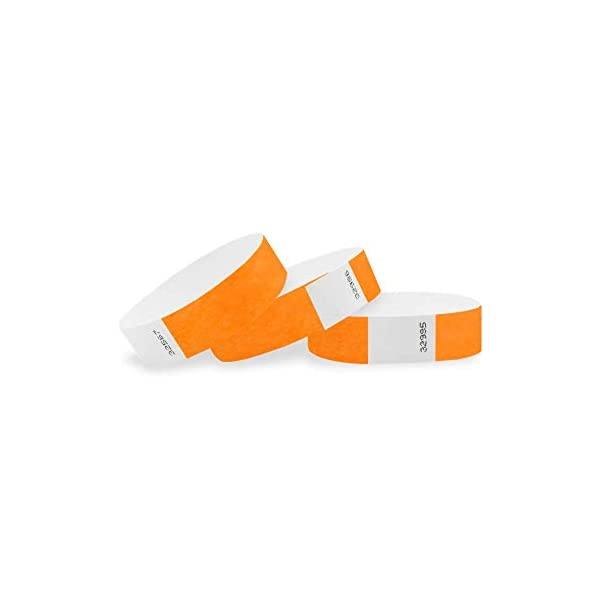 WristCo Neon Orange 3/4 inch Tyvek Wristbands