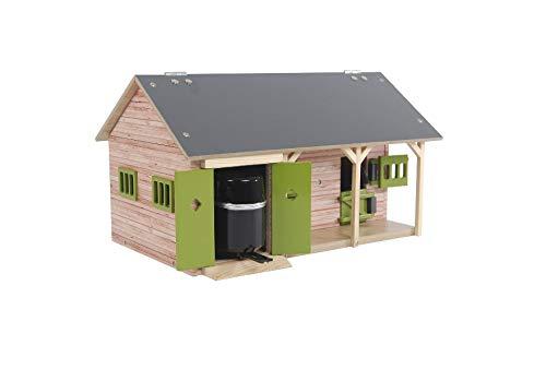 Kids Globe Pferdestall 1:32 (mit 2 Pferdeboxen, 1 Lagerraum, ohne Pferde und Zubehör, Pferdehof für Kinder, Farbe Holz / grün) 610249