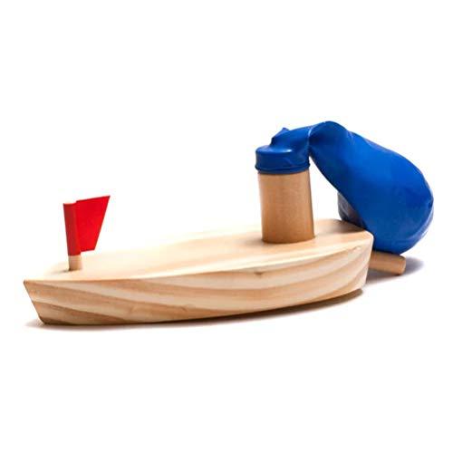 Schimer Luftballon Holzboot mit Gummimotor | Spielzeugklassiker für Kinder, Bunt Mini-SegelbooteM Fischerboot, aus Rohholz, Höhe ca. 15 cm