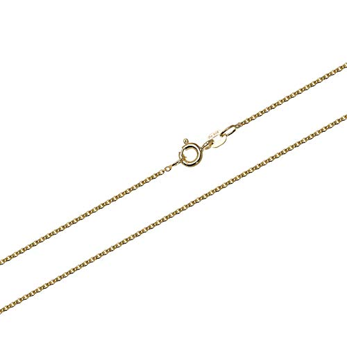 NKlaus 50cm Anchor Chain Gold Chain 0,8mm 585 Solid Yellow Gold Necklace Anchor Chain Round 1,00g 9434