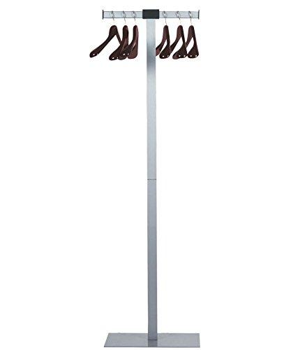 UNILUX Spirit Kapstok van staal in grijs incl. 6 massief houten hangers 175 cm hoog - kledingstandaard mantelstandaard garderobe