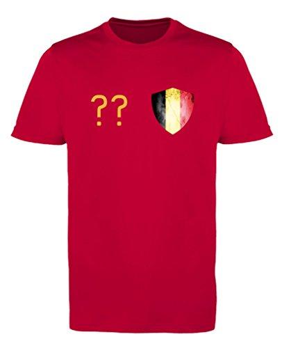 Comedy Shirts - Belgien Trikot - Wappen: Klein - Wunsch - Damen Trikot - Rot/Gelb Gr. XS