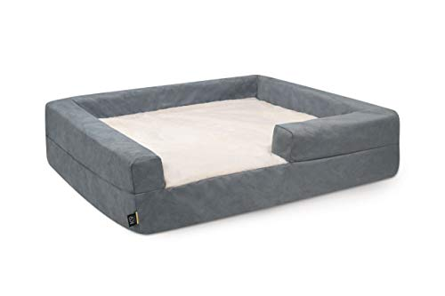 K9 Ballistics Easy Clean Dog Bed Washable Orthopedic, Urine Proof for Incontinent Dogs, Slip Off Cover (Large (40'x34'x10'), Grey Micro & Cream Fur)