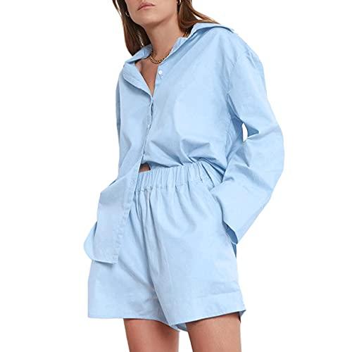 Conjunto casual de 2 piezas para mujer, de color sólido, cuello de manga larga con botones y pantalones cortos de cintura alta, azul, XL