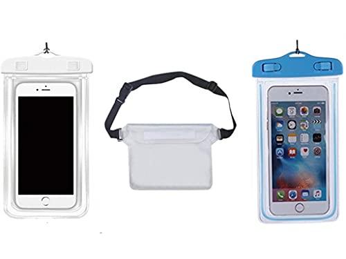 YOUBO 3 Piezas Funda Impermeable Universal Bolsa Herméticamente para teléfono móvil Bolsa de Cintura Ajustable Bolsa de Hombro para Deportes de Playa al Aire Libre