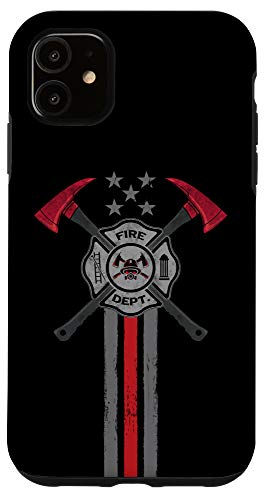 iPhone 11 Vintage Thin Red Line Firefighter Axe Gift Patriotic Fireman Case