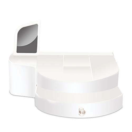 Coffrets de maquillage Maquillage Boîte De Rangement Cosmétique Tiroir avec Boîte De Finition Miroir Produits De Soins De La Peau pour Le Maquillage (Color : Blanc, Size : 34CM*21CM*12CM)