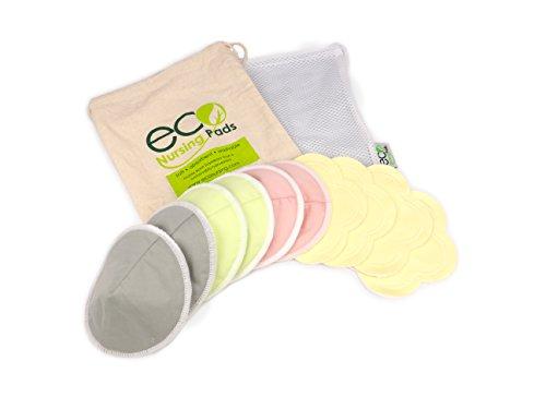 Lavabile e riutilizzabile Organic Bamboo Nursing Pads | cuscinetti per l'allattamento a forma di cono | imbottiture per l'allattamento morbide di fiore | 10 pezzi | E-book