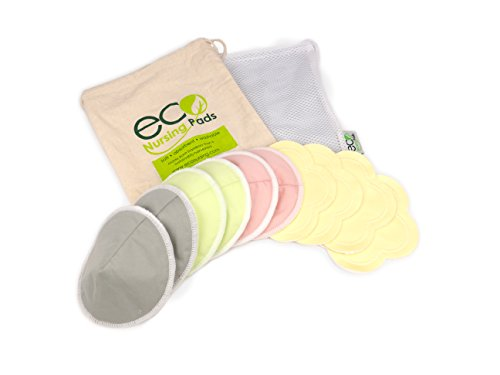 Contoured Washable Reusable Bamboo Nursing Pads, Organic Bamboo Breastfeeding Pads, Ultra-Soft Velvet Flower Pads, 10 Pack with 2 Pouches & E-Book
