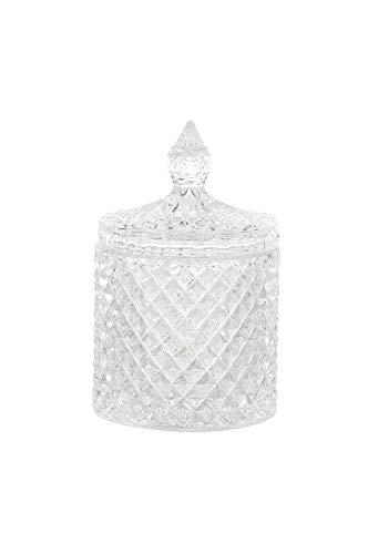 Pandecor Copa potiche porta peladillas con tapa de cristal estilo bohemio d. 8,5 x h 14 cm