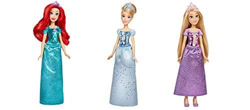 Disney- MUÑECA Princesa Brillo Real 30 CM Mod. SDOS. (Ariel, Rapunzel Y Cenicienta), Multicolor (Hasbro F08815L0)