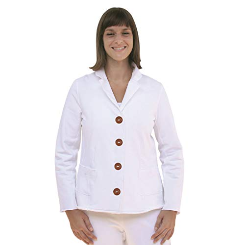 Neon Buddha Women's Light and Stretchy Cotton Escape Button Jacket with Exposed Seams and Pockets Ladies Cotton Blazer - Style #5006471 White