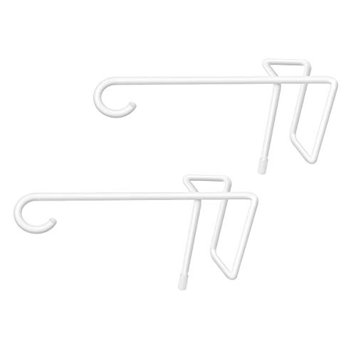 JOYSEUS 2 Pack Vinyl Fence Hooks, 5 x 10 Inches Durable White Powder Coated Steel Fence Hanger for Hanging Plants, Lights, Pool Equipment