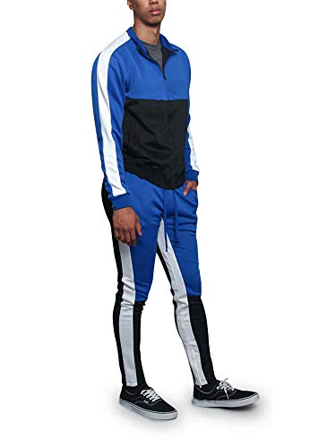G-Style USA Men's Tri-Colored Track Suit Set ST5010-523 - Royal Blue - 3X-Large